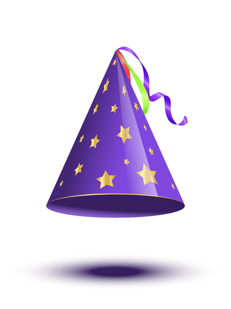 Blue party cane cap with golden stars isolated on white background. Vector holiday elements
