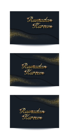 Ramadan Kareem vector background set. Card collection with golden text and sparkling golden glitter on dark background. Ilustracja