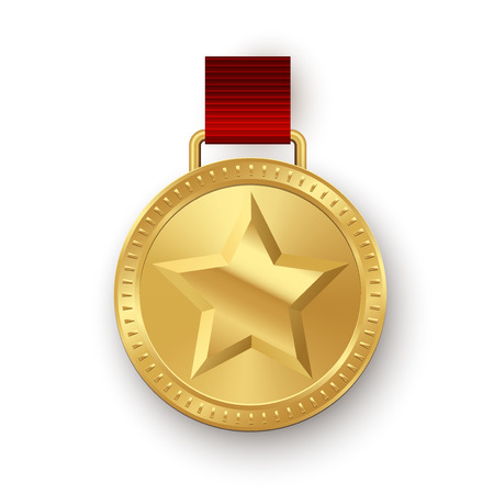 Vector golden medallion with star hanging on red ribbon isolated on white background