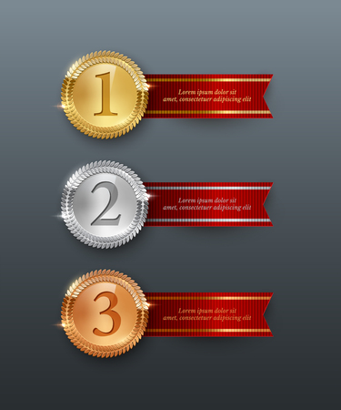Vector gold, silver, bronze medals and horizontal red ribbons with text space isolated on gray background.