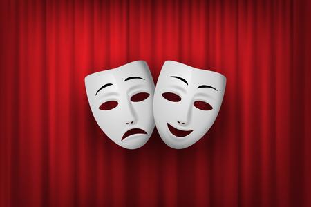 Maschera teatrale commedia e tragedia isolata su uno sfondo di tenda rossa. Illustrazione vettoriale.