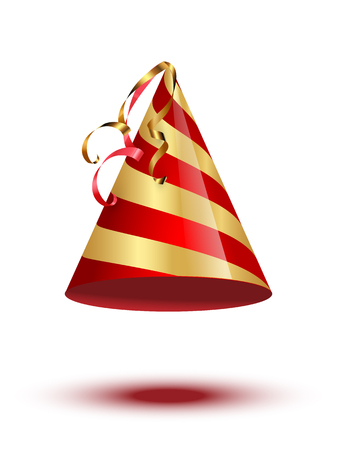 Red and golden party cane cap isolated on white background. Vector holiday elements