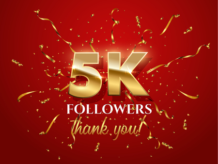 5000 followers celebration vector banner with text. Social media achievement poster. 5k followers thank you lettering. Golden sparkling confetti ribbons. Shiny gratitude text on red gradient backdrop