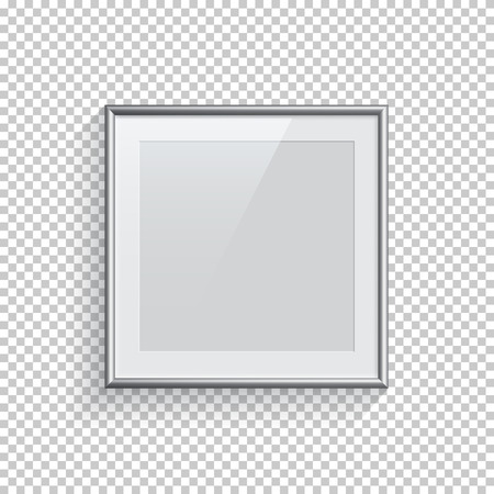 Square silver picture or photo frame isolated on transparent background. Vector design element.