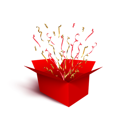 Red gift box with red and golden ribbons, serpentine and confetti isolated on white background. Vector design element