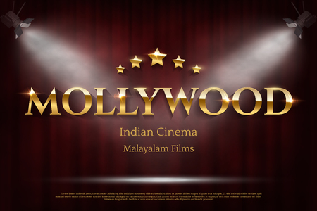 Mollywood indian cinema vector banner with text