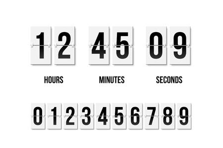 Flip clock que muestra cuánto tiempo: horas, minutos y segundos. Tablero del tirón con números negros en estilo retro. Elemento de diseño vectorial