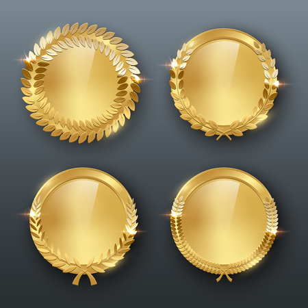 Award golden blank medals 3d realistic vector color illustration on gray background