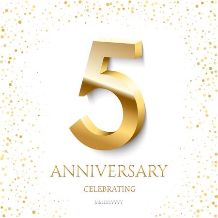 5to aniversario de oro celebrando texto y confeti sobre fondo blanco. Plantilla de evento de vector celebración 5 aniversario. Ilustración de vector