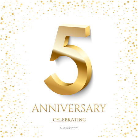 Golden 5th Anniversary Celebrating text and confetti on white background. Vector celebration 5 anniversary event template. Ilustracja