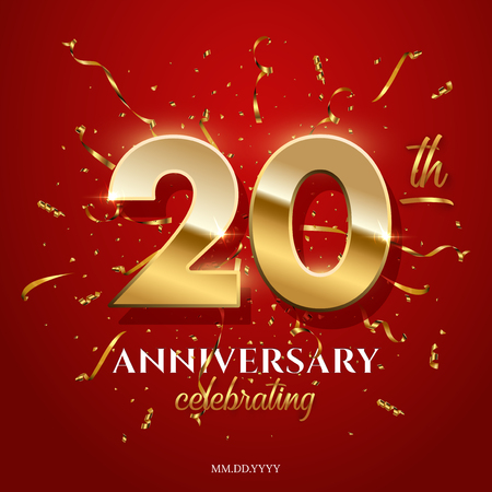 20 golden numbers and Anniversary Celebrating text with golden serpentine and confetti on red background. Vector twentieth anniversary celebration event square template.