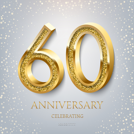 60th Anniversary Celebrating golden text and confetti on light blue background. Vector celebration 60 anniversary event template.