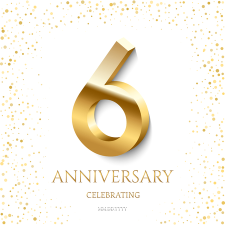 Golden 6th Anniversary Celebrating text and confetti on white background. Vector celebration 6 anniversary event template.
