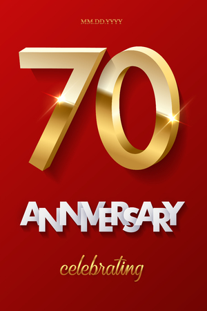 70 golden numbers and Anniversary Celebrating text on red background. Vector vertical seventieth anniversary celebration event invitation template. Ilustracja