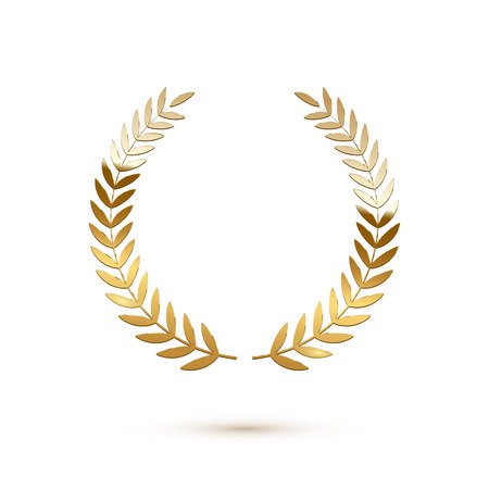 Golden shiny laurel wreath isolated on white background. Vector design element. Illusztráció