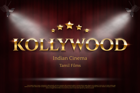 Kollywood indian cinema vector banner with text