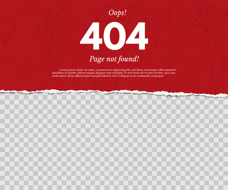 404 page not found concept. Red torn paper with text isolated on transparent background. Vector design element. Ilustracja