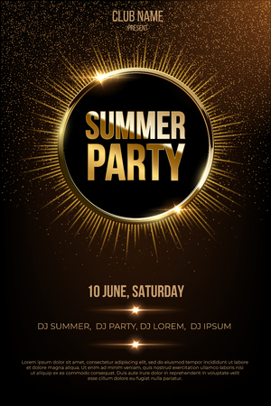 Summer party flyer template. Golden metal words and solar eclipse on dark background.