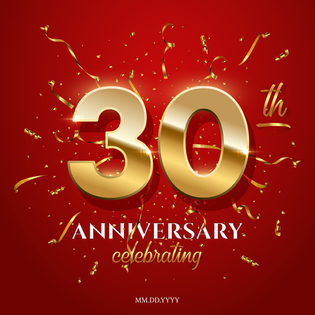 30 golden numbers and Anniversary Celebrating text with golden serpentine and confetti on red background. Vector thirtieth anniversary celebration event square template. Ilustracja