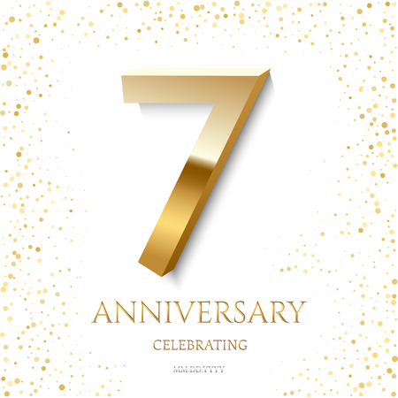 Golden 7th Anniversary Celebrating text and confetti on white background. Vector celebration 7 anniversary event template. Ilustracja