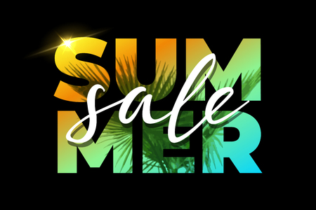 Summer Sale template with palm on black background. Vector illustration.