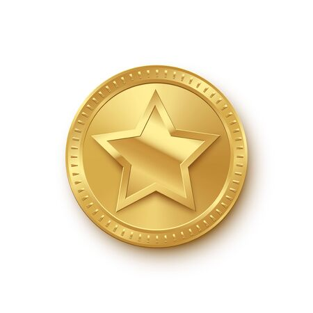 Vector golden medallion with star isolated on white background. Ilustracja