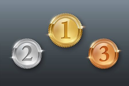 Award golden, silver and bronze medals 3d realistic vector color illustration on gray background