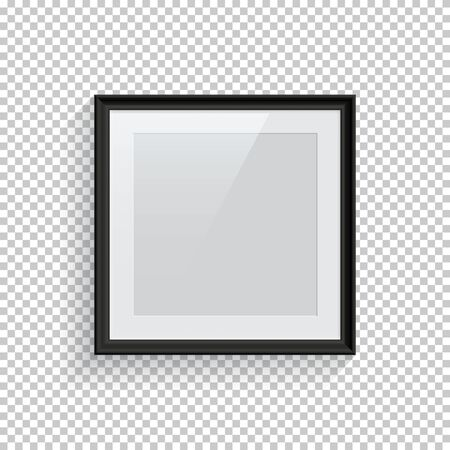 Square black picture or photo frame isolated on transparent background. Vector design element.