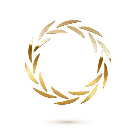 Golden shiny round laurel wreath isolated on white background. Vector design element.