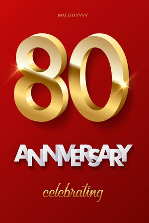 80 golden numbers and Anniversary Celebrating text on red background. Vector vertical eightieth anniversary celebration event invitation template.