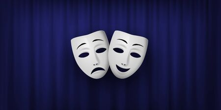 Comedy and Tragedy theatrical mask isolated on a blue curtain background. Vector illustration.
