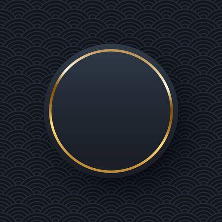 Golden round frame minimalistic template with text space Ilustração