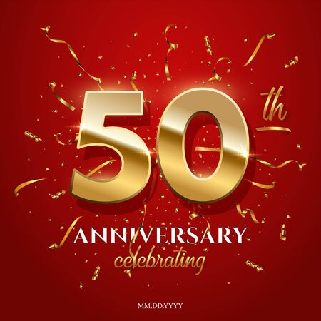 50 golden numbers and Anniversary Celebrating text with golden serpentine and confetti on red background. Vector fiftieth anniversary celebration event square template. Ilustração