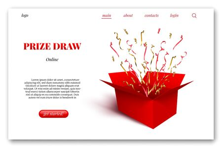 Landing page layout. Red gift box with red and golden ribbons, serpentine and confetti isolated on white background. Vector design element.