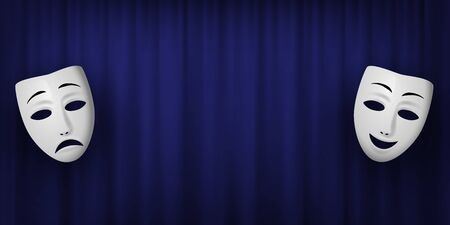 Comedy and Tragedy theatrical mask isolated on a blue curtain background. Vector horizontal illustration.