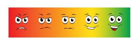 Smile rating flat vector illustration on color gradient background