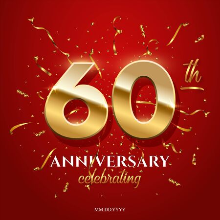 60 golden numbers and Anniversary Celebrating text with golden serpentine and confetti on red background. Vector sixtieth anniversary celebration event square template. 일러스트
