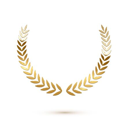 Golden shiny laurel wreath isolated on white background. Vector design element. Stock Illustratie