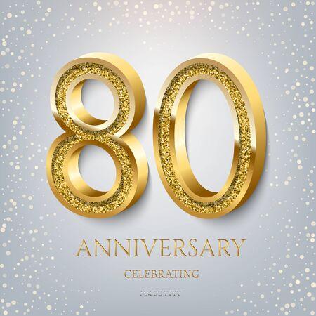 80th Anniversary Celebrating golden text and confetti on light blue background. Vector celebration 80 anniversary event template. Ilustração