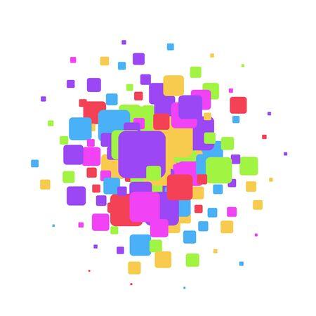 Colorful overlapping squares background for text Ilustração