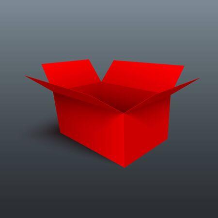 Red gift box isolated on gray background. 3D vector design element. Ilustração