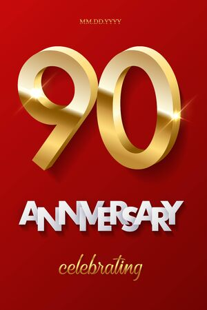 90 golden numbers and Anniversary Celebrating text on red background. Vector vertical ninetieth anniversary celebration event invitation template.