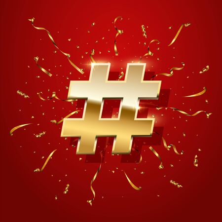 Hashtag with golden serpentine realistic 3D illustration