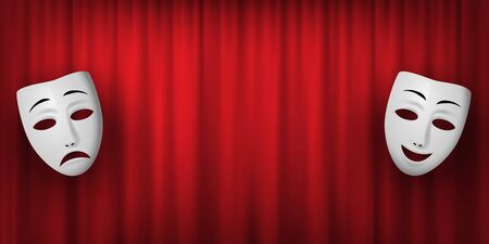Comedy and Tragedy theatrical mask isolated on a red curtain background. Vector horizontal illustration.