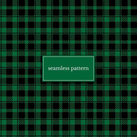 Green buffalo plaid color vector seamless pattern
