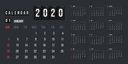 Calendar for 2020 year vector illustration