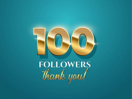 100 followers celebration vector banner with text on azure background Ilustração