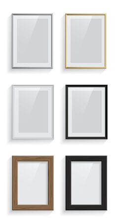 Rectangle picture or photo frames set isolated on white background. Vector design elements.