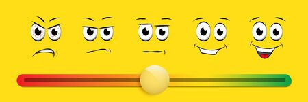 Smile slider rating flat vector illustration on yellow background