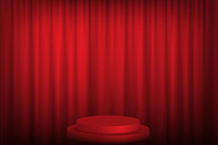 Red round podium with steps in front of the curtains. Vector illustration.